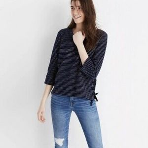 Madewell Striped Side Lace Up Top